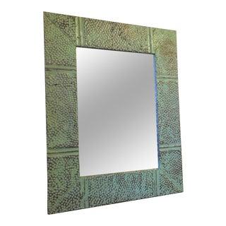 Mint Green Distressed Metal Framed Mirror