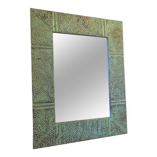 Mint Green Distressed Metal Framed Mirror