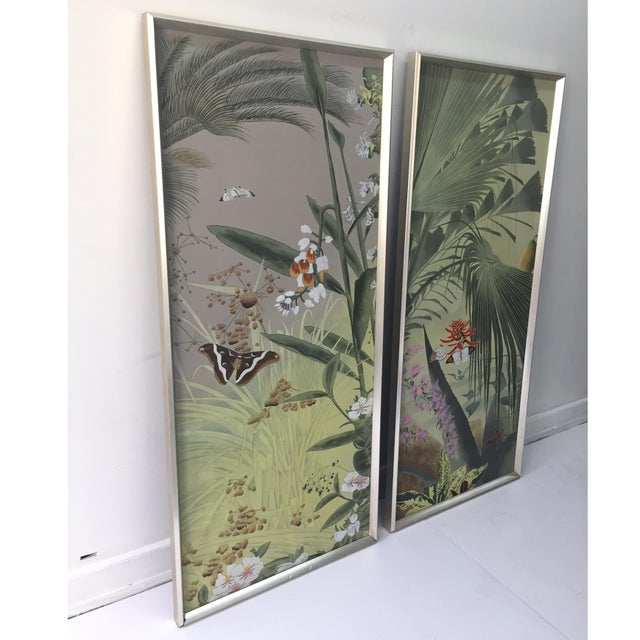 Vintage Hand Painted Silk Panels - A Pair - Image 2 of 6