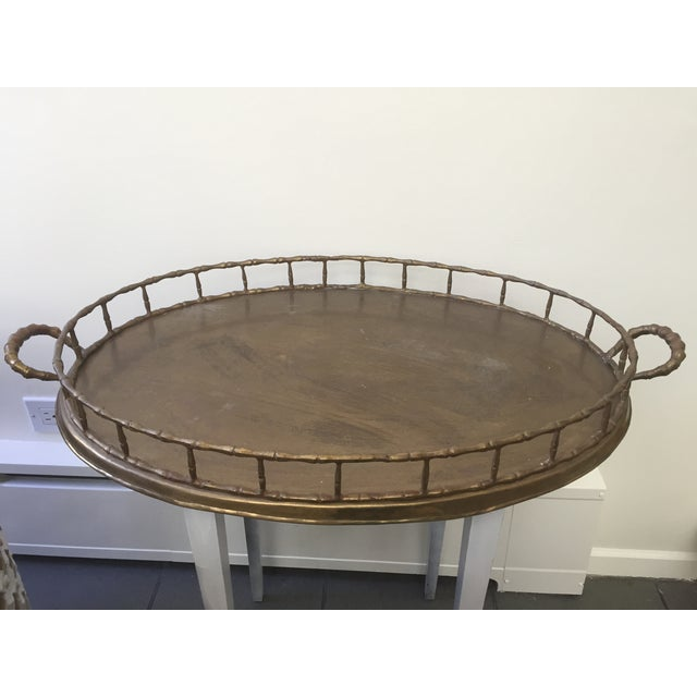 Image of Vintage Faux Bamboo Brass Serving Tray