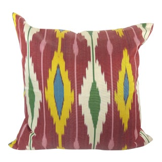 Red Woven Silk Ikat Pillow