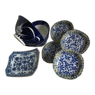 Asian Blue & White Serving Dishes - Set of 6