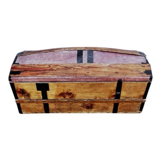 Solid French Storage Trunk With Leather Inserts