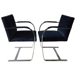 Mies Van Der Rohe BRNO Flat Bar Chrome Cantilevered Chairs