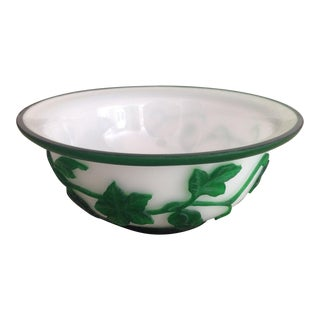 Green Ivy Bakelite & Milk Glass Bowl