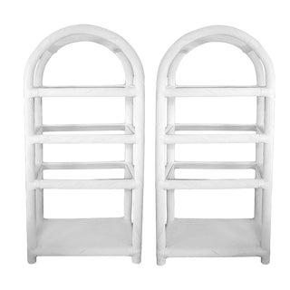 White Lacquered Rattan Étagères - A Pair