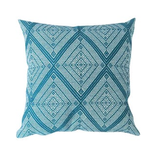Mexican Handwoven Teal Diamond Pillow