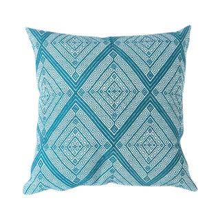 Mexican Handwoven Teal Diamond Pillow