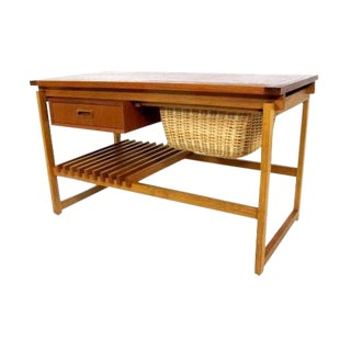 Danish Mid-Century Modern Teak & Oak Sewing Table