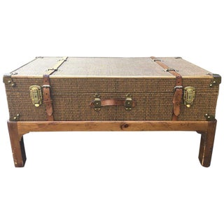 Vintage Rattan Suitcase Coffee Table on Custom Base