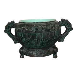 Bronze Turquoise Chinoiserie Pot