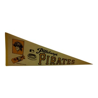 "Vintage MLB Pittsburgh Pirates ""Three Rivers Stadium"" Team Pennant - Circa 1971"