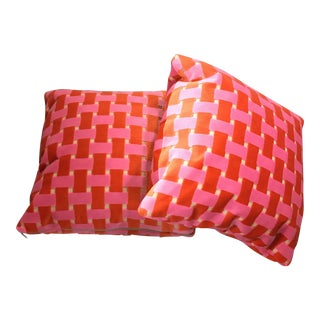 Hot Pink and Orange Banded Velvet Pillows - a Pair