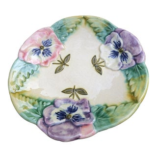 1900s Choisy Le Roy French Majolica Pansies Plate