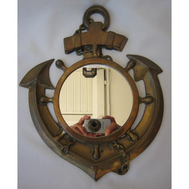 Vintage Brass Anchor Mirror - Image 5 of 5