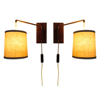 Mid Century Walnut Wall Mount Hanging Lamps - Pair