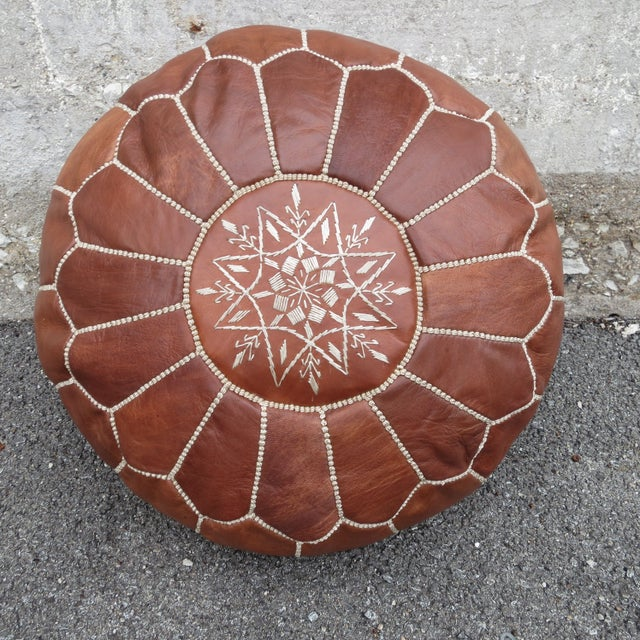 Moroccan Brown Leather Pouf - Image 3 of 4