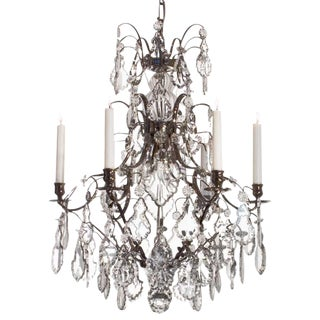 Baroque Chandelier, 6 Chrome Pendeloque