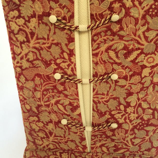 Red & Gold Brocade Dining Chairs - A Pair - Image 7 of 8
