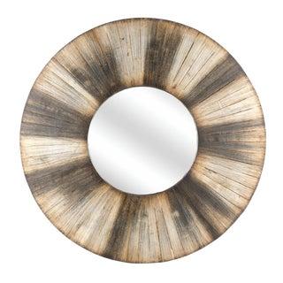 Round Distressed Driftwood Mirror