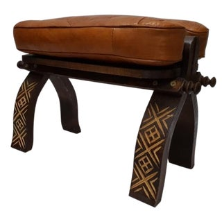 Handmade Moroccan Leather Bench