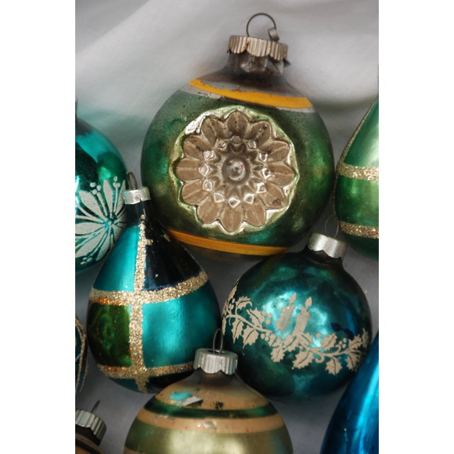Vintage Blue and Green Glass Ornaments - Set of 11 - Image 7 of 10