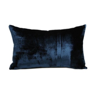 Royal Blue Hand Loomed Silk Velvet Pillow
