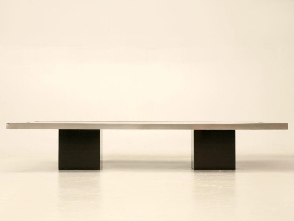 60s Black Lacquered U0026 Brushed Metal French Coffee Table   Image 2 Of 11