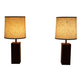 Mid Century Modern wood pillar table lamps