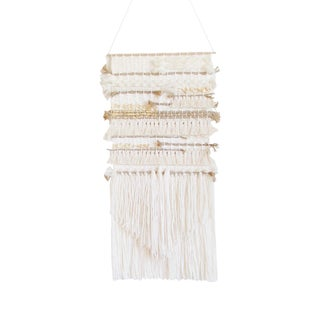 White, Brown & Gold Woven Wall Hanging