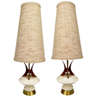Plasto Teak and Chalkware Lamps - A Pair
