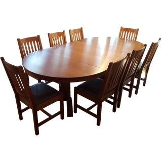 Mission-Style Stickley Oak Dining Set - Set of 9