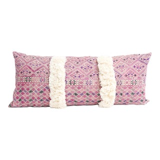 Vintage Embroidered Lumbar Pillow With Fringe Lumbar