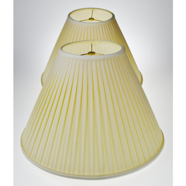 Vintage Pleated Fabric Tapered Lamp Shades A Pair Chairish