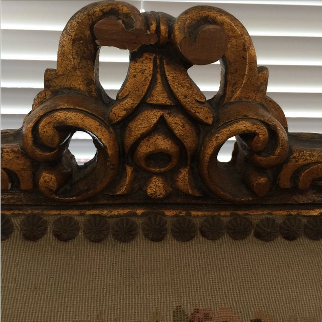 Antique Louis XV Style Tapestry Carved Sette - Image 8 of 11