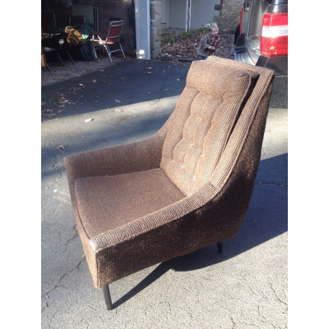 Mid-Century Modern Tufted Brown Club Chair - Image 4 of 9