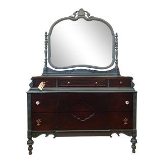 Refurbished Antique Wood Dresser With Mirror