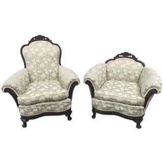 Antique 1920s Parlor Chairs - A Pair