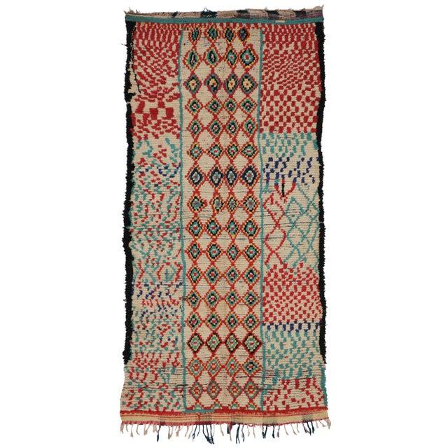 Vintage Moroccan Berber Tribal Motif Rug - 4′4″ × 8′6″ - Image 6 of 7