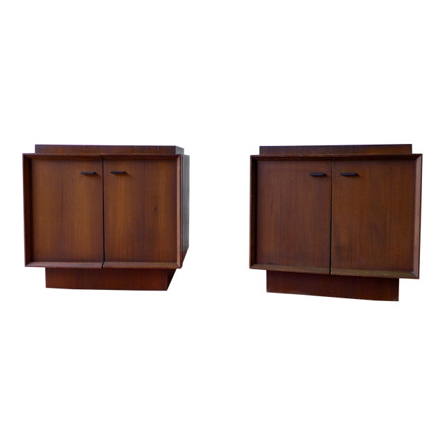 Image of Mid-Century Modern Walnut Nightstands