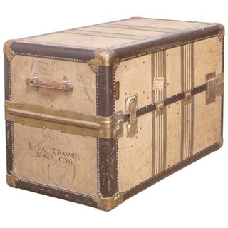 Louis Vuitton Style Canvas Steamer Trunk