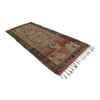 Handwoven Turkish Anatolia Kilim Rug - 4′11″ X 11′10″