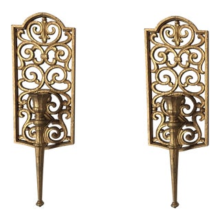Gilded Syroco Sconces - A Pair