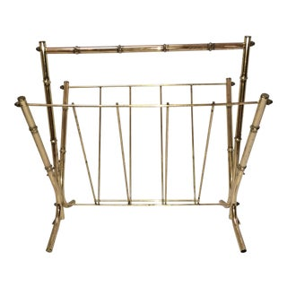 Faux Bamboo Brass Magazine Rack