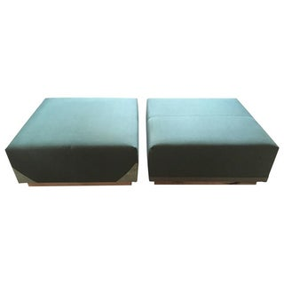 Green Rectangular Ottomans - A Pair