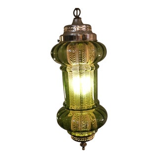 1960s Green Glass Swag Lamp