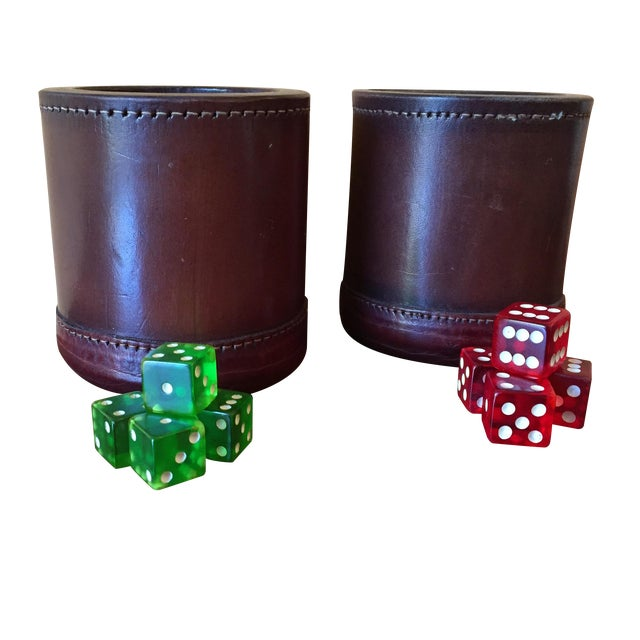 Leather Dice Cups with 8 Bakelite Dice - A Pair - Image 1 of 7