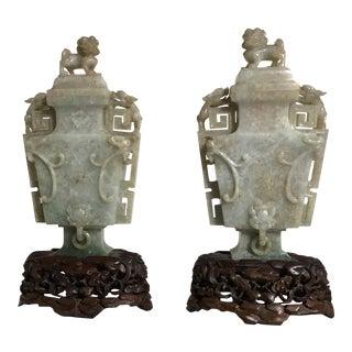 Pair of Chinese Art Deco Jadeite Vases