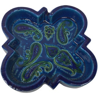 1960's Italian Blue Paisley Ashtray Catchall