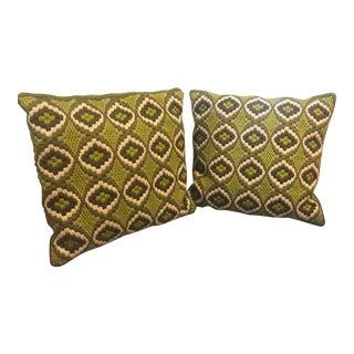 Green Mid-Century Bargello Needlepoint Pillows - Pair